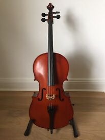 Primavera 100 1/10 size cello with bow and case in very good condition