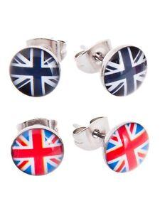 2 Pair Union Jack Stud Earrings Gift Set FREE Gift Bag Christmas England/London