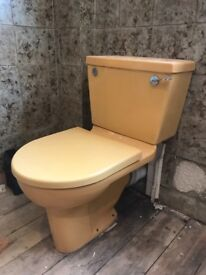 Bathroom Suite Cast Iron bath 1970s Shower, sink, toilet Golden Sunset/yellow FREE