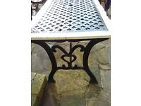 Iron and wood garden table and chair (x2) set. Collection only