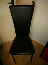 Two Faux Leather Dining Chairs