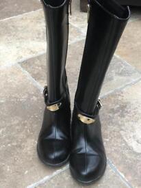 Girls Michael Kors black leather boots
