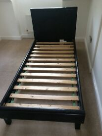 Single bed frame, brown leather