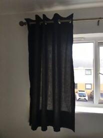 Black Cotton Bedroom Curtains