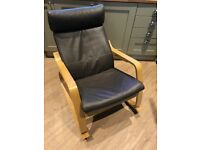 IKEA Poang Rocking Chair Oak Frame Brown Leather Cover