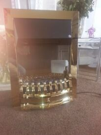"""NEW"" BALMORAL ECOLITE BRASS ELECTRIC FIRE by VALOR WITH LED"