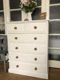 PINE TALL BOY FREE DELIVERY LDN 🇬🇧CHEST of drawers Shabby chic , solid wood throughout