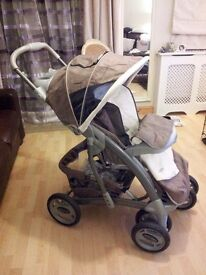 Brown and cream Graco pram with detachable car seat