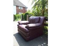 Burgundy leather very confortable armchair chair