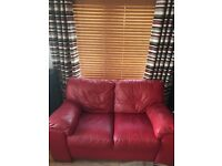 Red leather 3 and 2 seater sofa