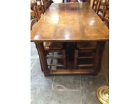 Oak Refectory Dining Table and 6 matching Chairs, dark oak, 8 seater, Handmade
