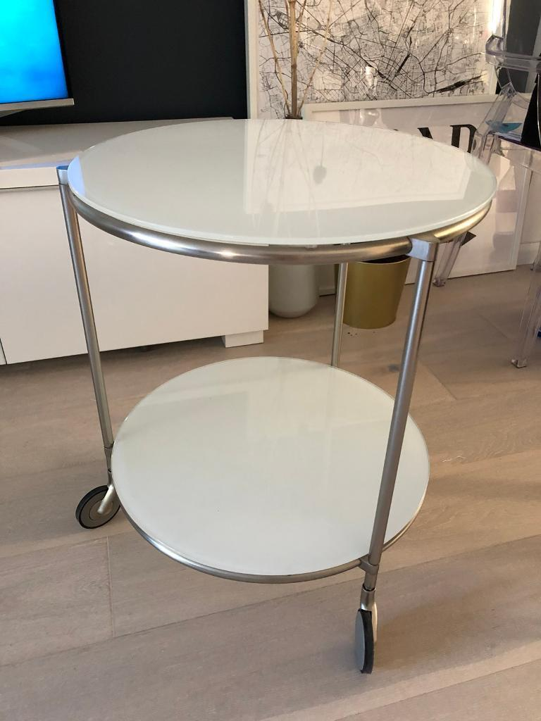 Round Side Table On Wheels White Glass Ikea Good Condition