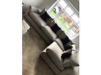 Barker and Stonehouse grey Floyd corner sofa and stool