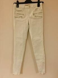 Zara Jeans Size 34 UK 6 Mint Green Slim Skinny Zip Hem Bloggers Fav Festival