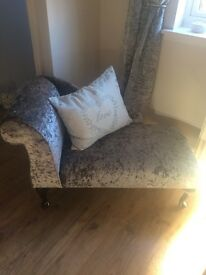 Silver crushed velvet chaise lounge