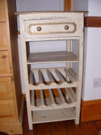 Attractive shabby chic cabinet wine rack. Dimensions: 94 cm high x 49 wide x 44 depth.