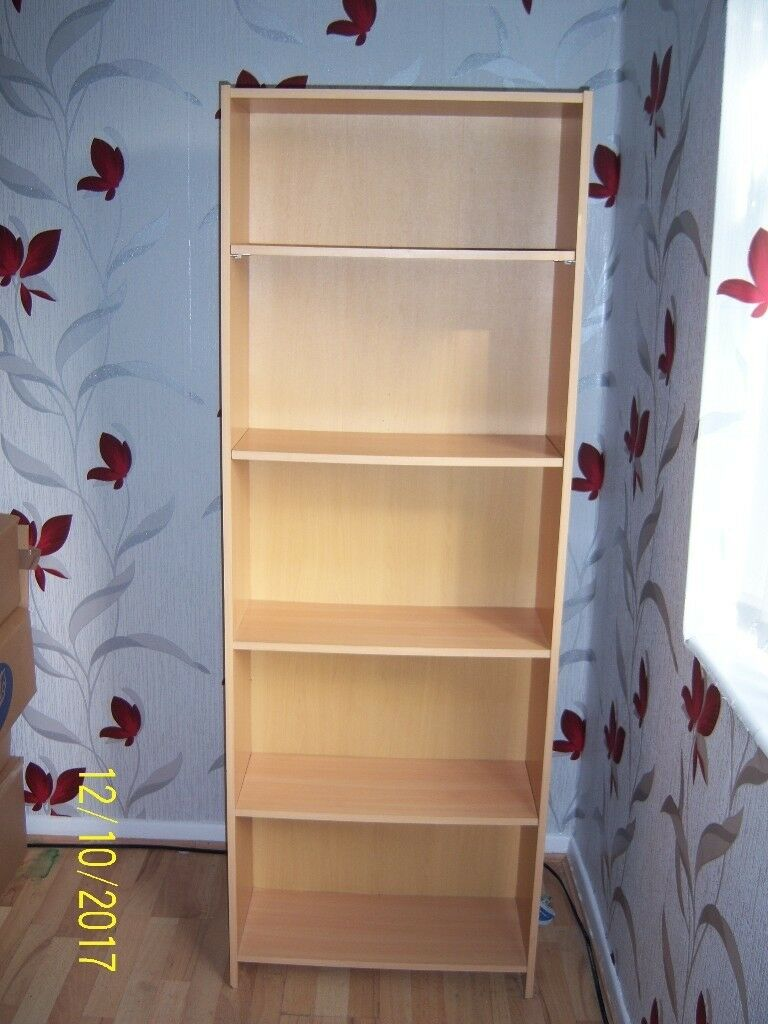 Tall Wide Bookcase for Home or Office 5 tier shelf adjustable