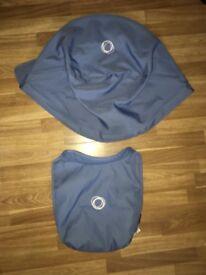 Bugaboo donkey ice blue extendable hood and apron