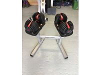 Bowflex 2-24kg SelectTech Dumbells and Bodypower Stand - as new condition