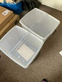 2 x Large plastic containers with lid