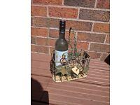 3 bottle wine holder rack garden Shabby chic floral fruit summer leaves season