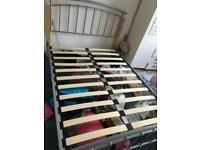 Double bed metal frame and mattress very good condition