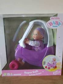 Baby born doll with coupe car