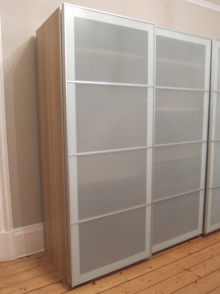 Ikea Pax Wardrobe White Stained Oak Effect With Frosted Glass Sliding Doors
