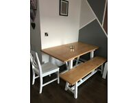 Portobello White & Bleached Pine Trestle Dining Table with Bench and 2 Chairs