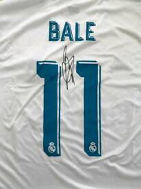2 x Gareth Bale signed Real Madrid shirts 17/18 with Coa
