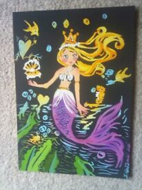 Mermaid cartoon etching with seabed and aqua life in dark waters