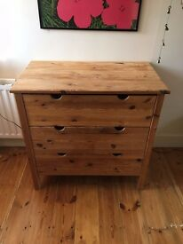 Beautifully aged solid pine chest of drawers