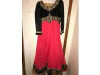 Asian style dress in red and black