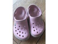 Girls pink Croc sandals infant size 6-7