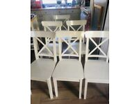 6 x white wooden dining chairs