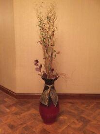 Beautiful free standing burgandy floor vase (with twigs)