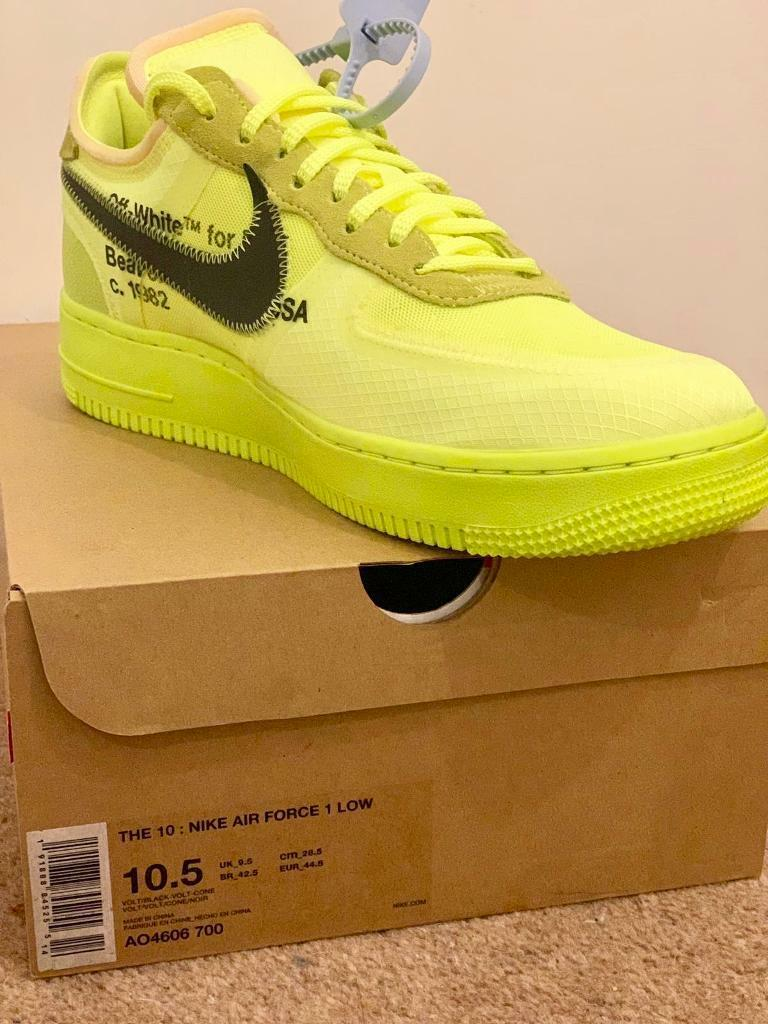 check out d61b6 432f8 Nike Air Force 1 x Off-White Volt UK9.5