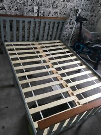Grey and Oak double bed