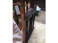 Solid wood, part glazed external door including two mortice locks & keys. Small crack, easy repair