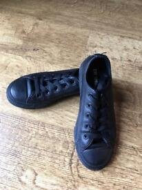 Kids Converse All Stars - black Ox Leather - UK 12