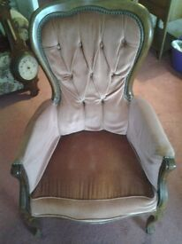 Antique style armchair-Pink velvet-Needs some TLC- Collection only - Hove