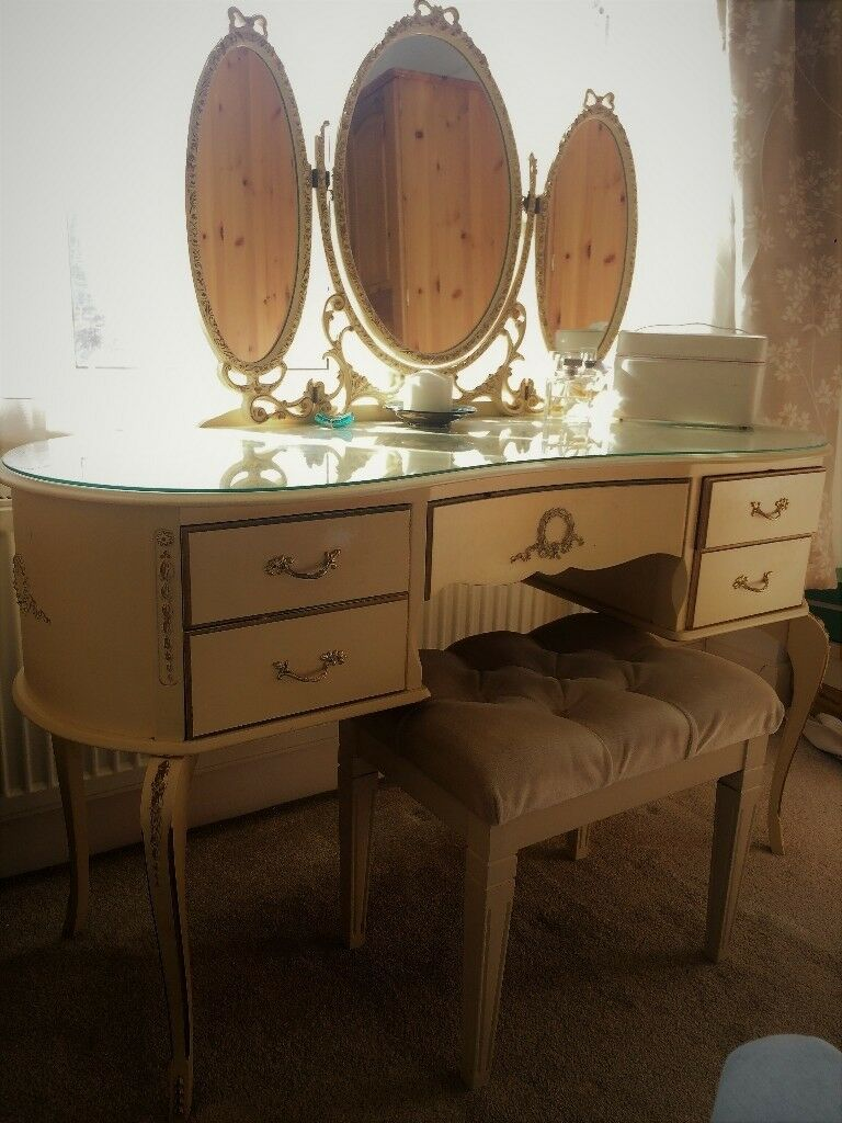 Dressing Table With Mirror And Stool: Stunning French Louis Style Vintage Dressing Table, Triple