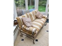 CONSERVATORY PATIO GARDEN DINING SUITE METAL GLASS TABLE CHAIRS SOFA COST £1800