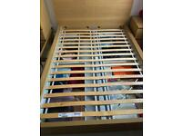 IKEA MALM OAK BED FRAME WITH 4 STORAGE BOXES / DOUBLE