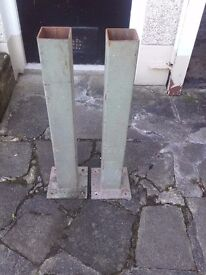 2 No. Square section steel Post-holders/Stanchions.