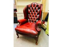 Stunning quality and condition Thomas Lloyd Queen Anne oxblood chesterfield wingback armchair