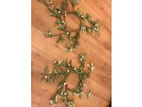 Christmas candle ring holder mistletoe artificial
