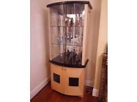 *NEW PRICE* Two beautiful Ebony and Maple Glass Fronted Display Cabinets