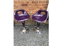 Pair Purple / Chrome Bar Stools. Excellent Condition. Can Deliver!