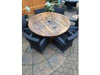 Bespoke handmade fully worked over cable drum garden table